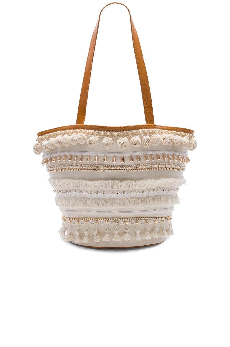 Mystique Pom Pom Tote in White