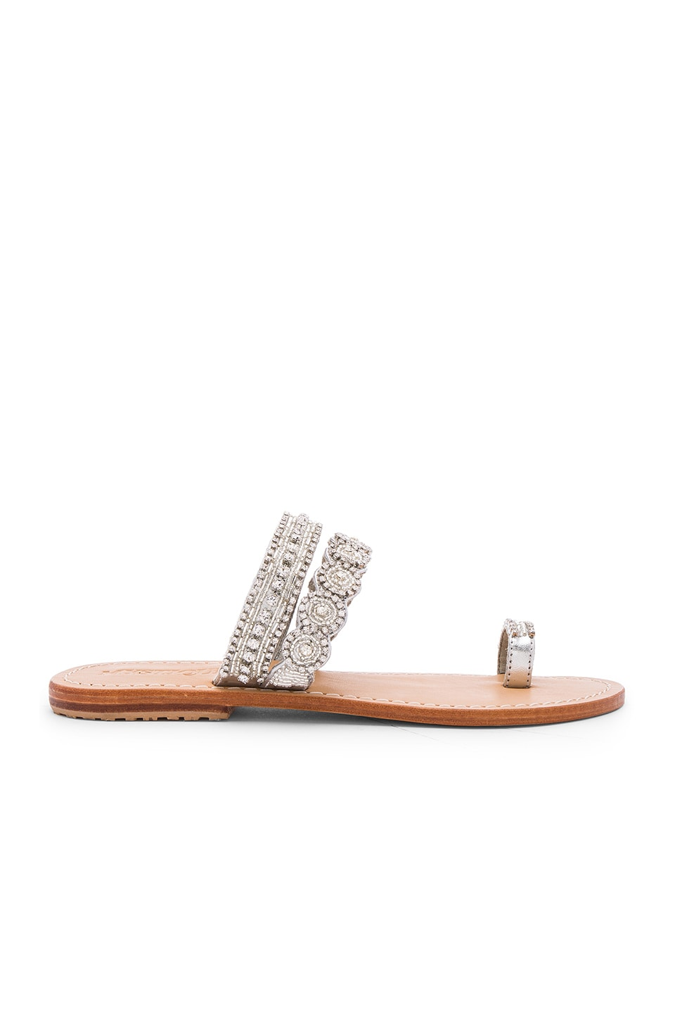 Mystique Slide Sandals in Silver & Clear