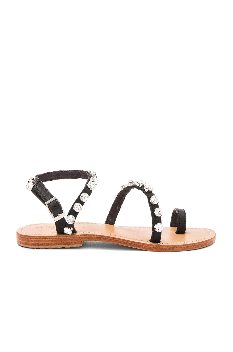 Mystique Flat Sandal in Black & Clear