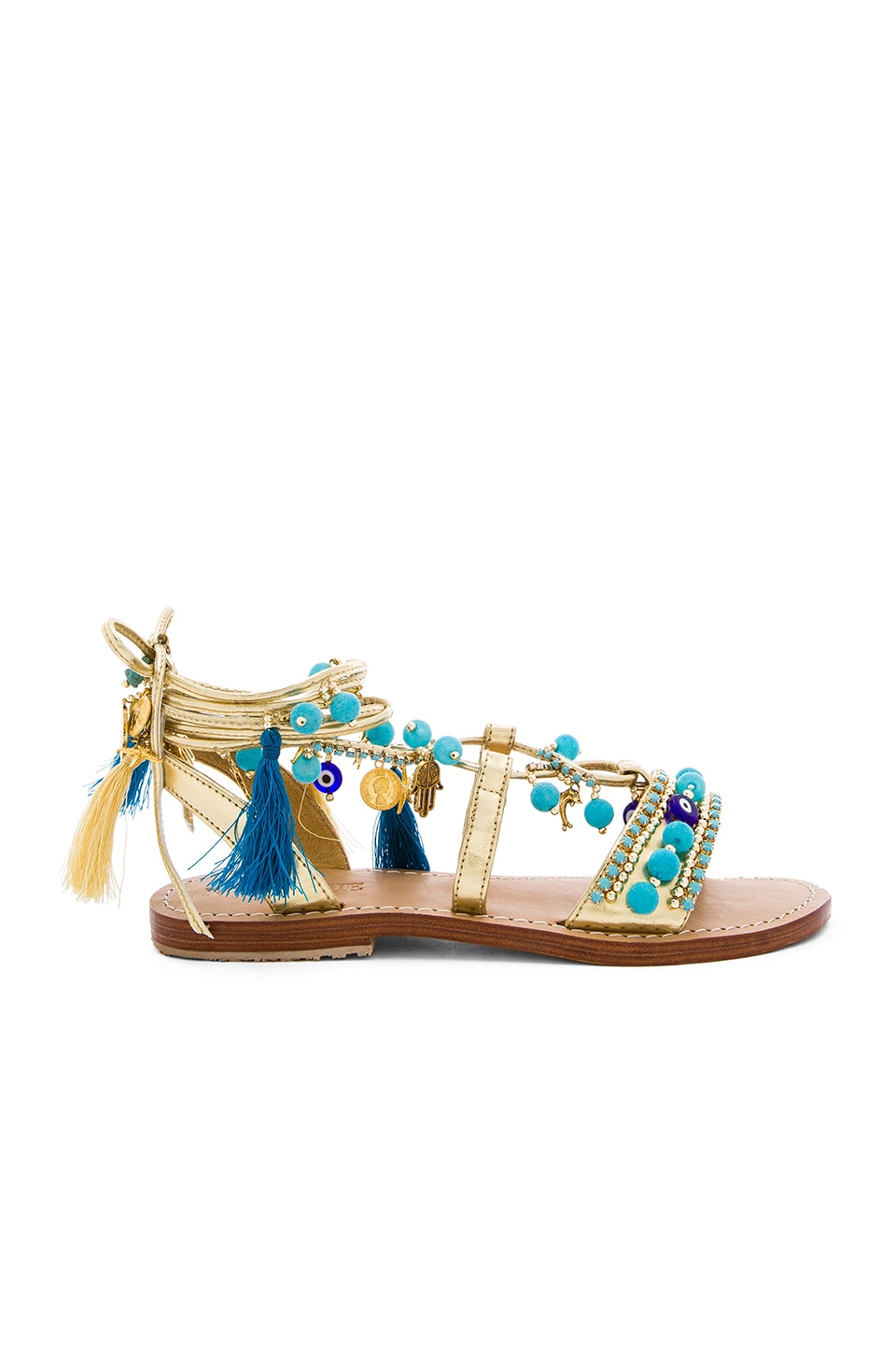 Mystique Lace Up Sandals in Gold & Turquoise