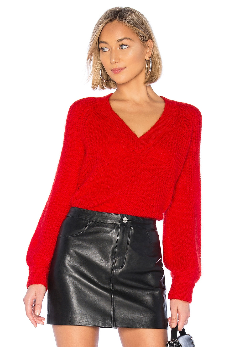 NAADAM Alute Deep V Sweater in Red