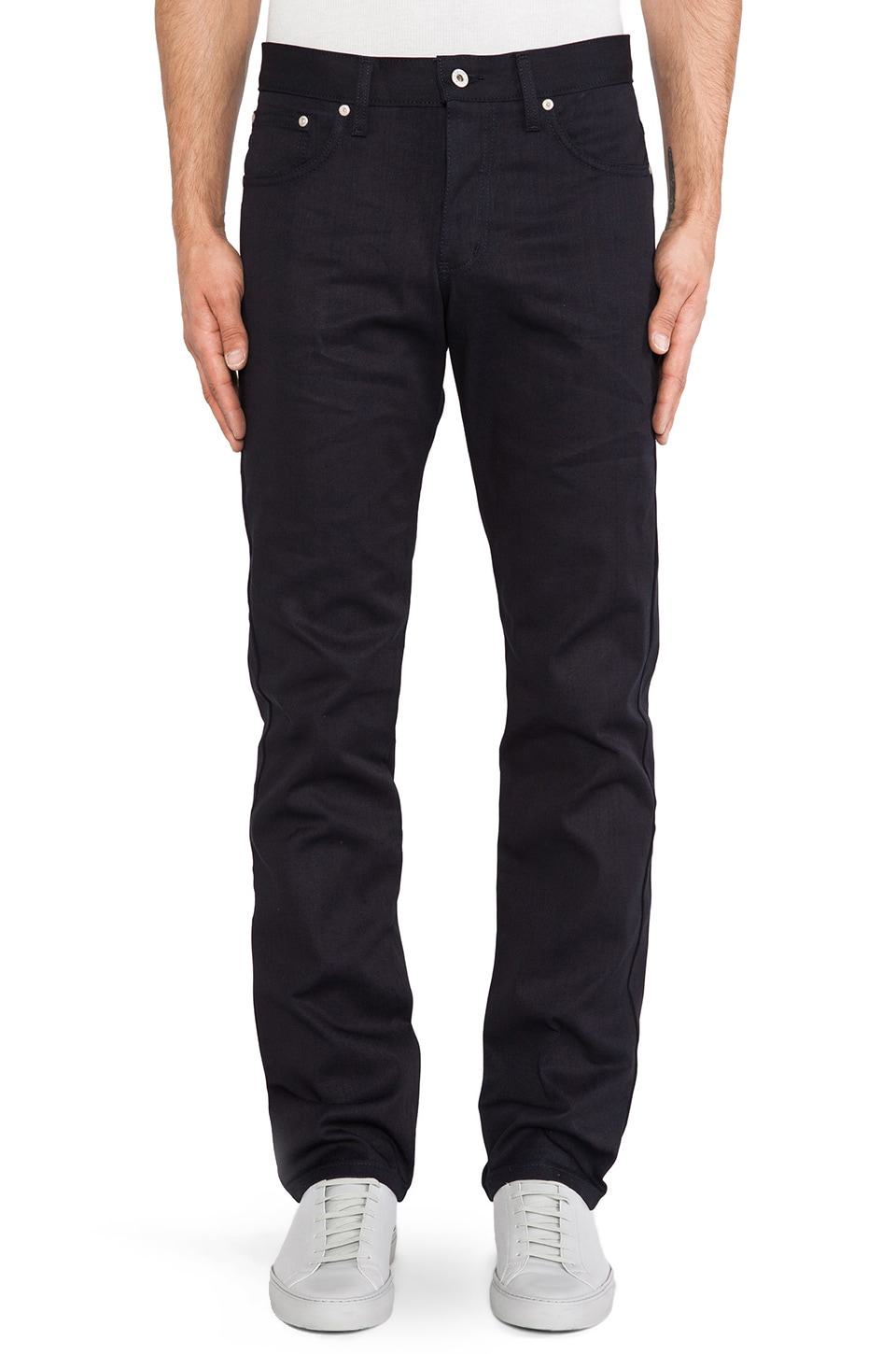 Naked & Famous Denim Slim Guy Lightweight Indigo/Indigo 8 oz in Indigo