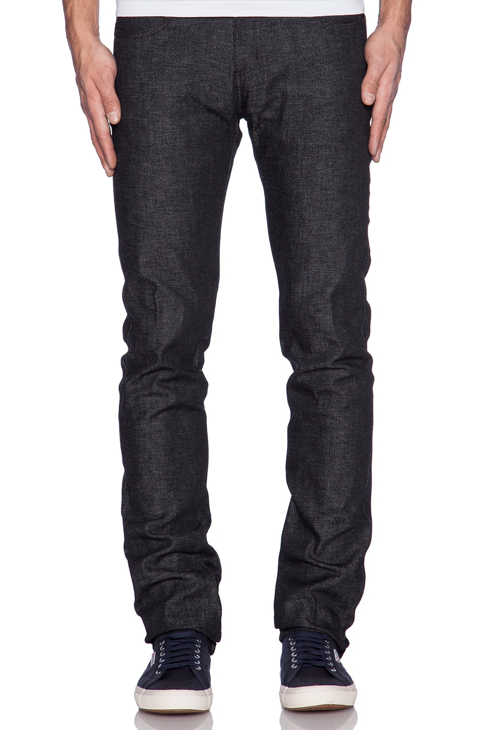 Naked & Famous Denim Super Skinny Guy 12oz Grandrelle Denim in Black