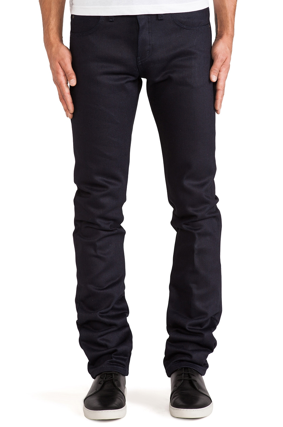 Naked & Famous Denim Skinny Guy 22oz Elephant 4 in Indigo/Black