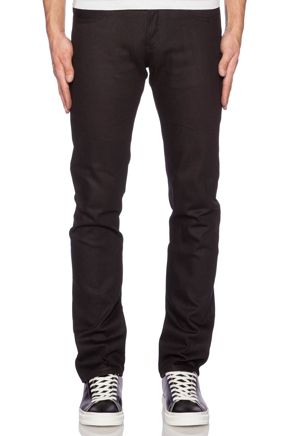 Naked & Famous Denim Super Skinny Guy Sumi Ink Coated Selvedge 12oz in Black Indigo
