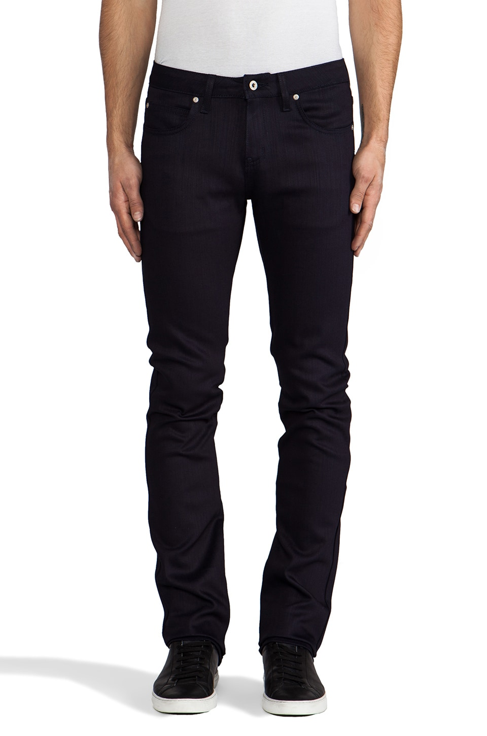 Naked & Famous Denim Skinny Guy Midnight Power Stretch 12 oz. in Indigo/Black
