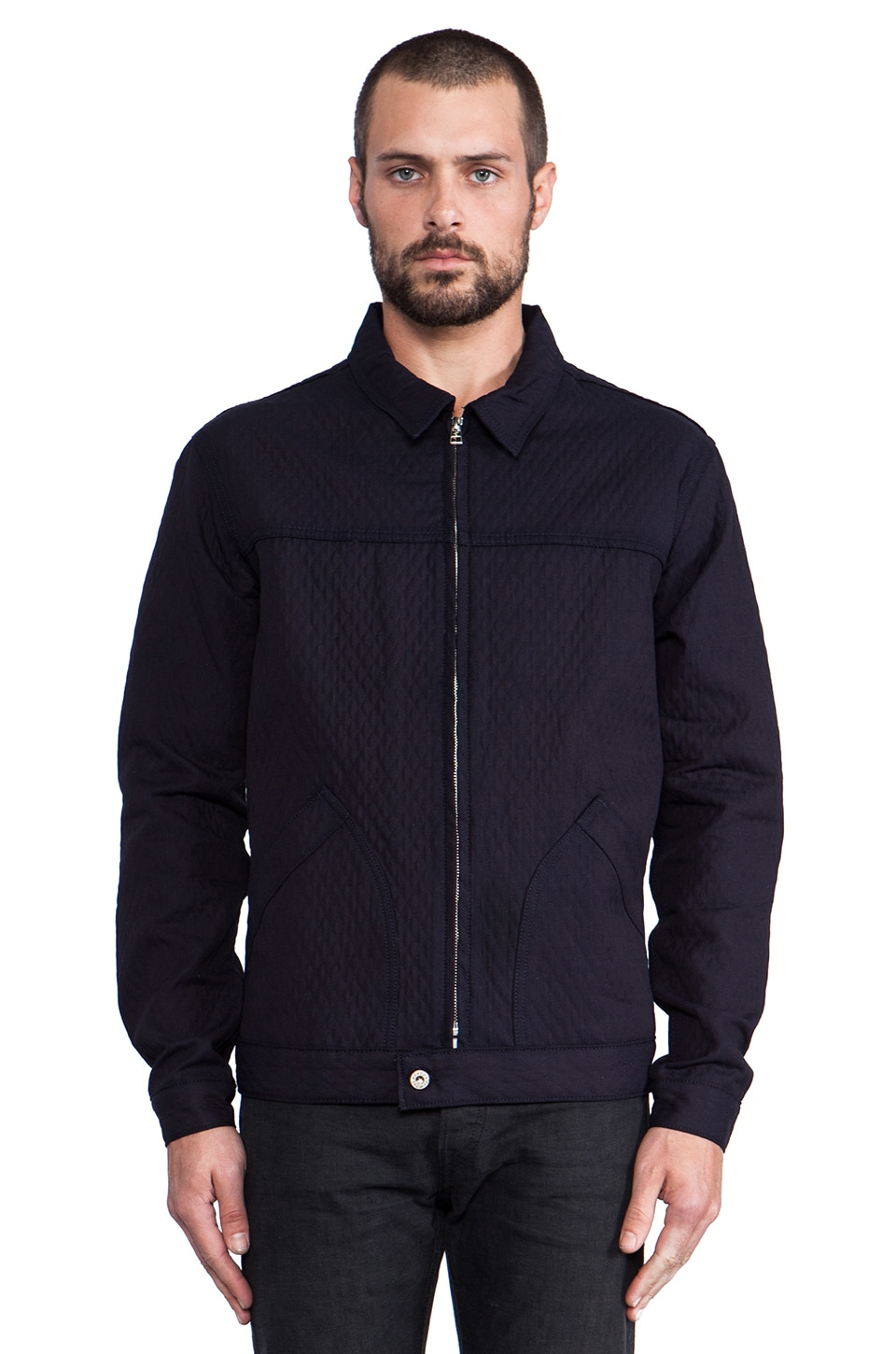 Naked & Famous Denim Zip Jacket Quilted Doubleface Denim in Navy w/Multi Interior