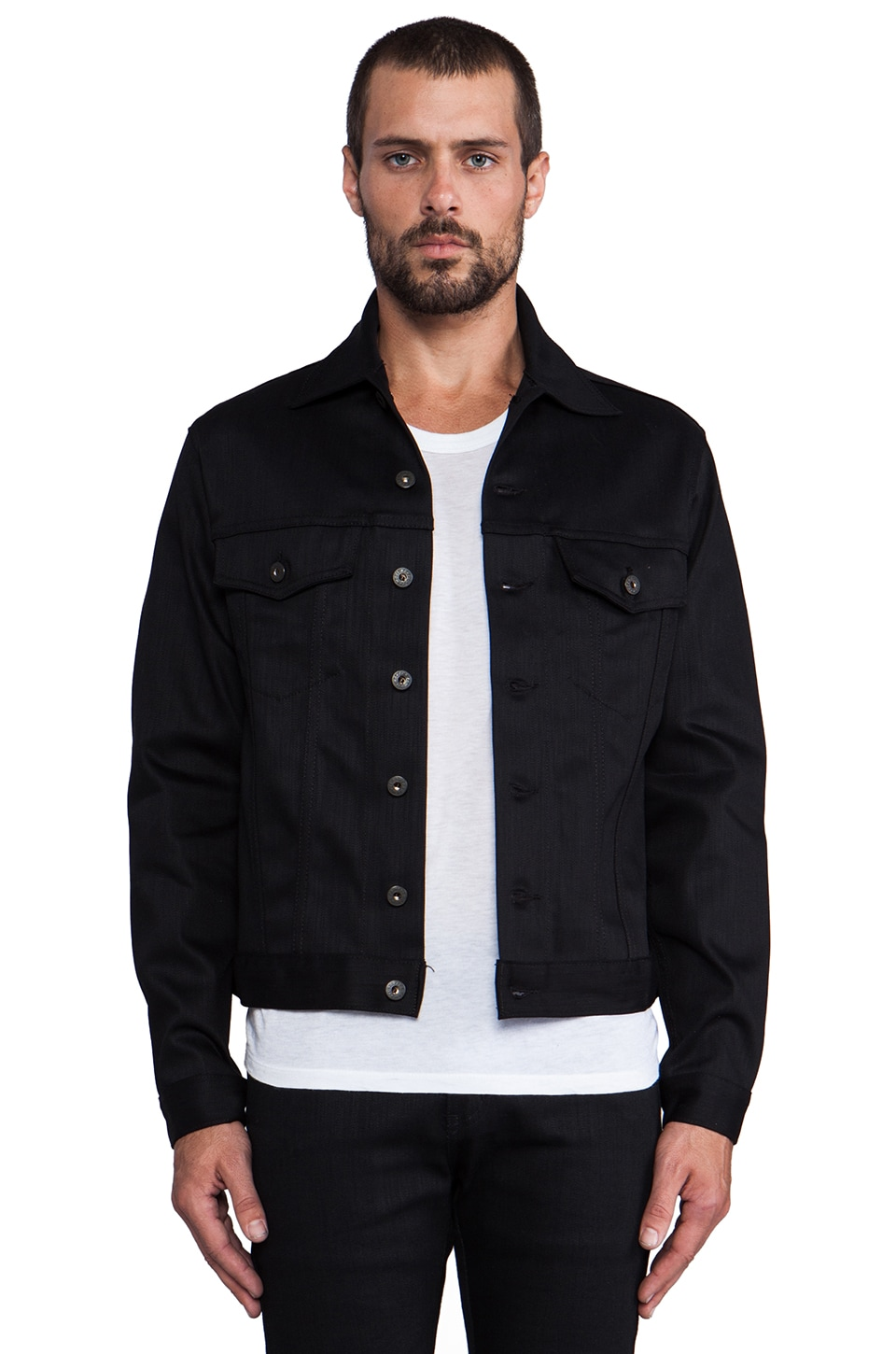 Naked & Famous Denim Denim Jacket Black Power Stretch in Solid Black