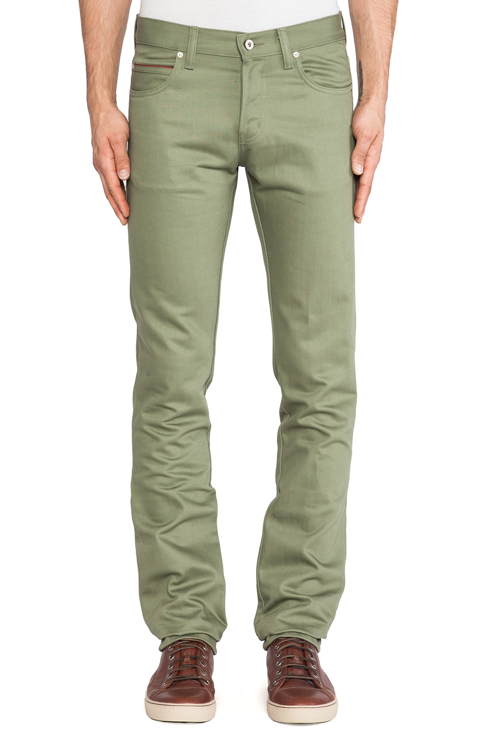 Naked & Famous Denim Skinny Guy Leaf Green Selvedge Chino 12 oz. in Leaf Green