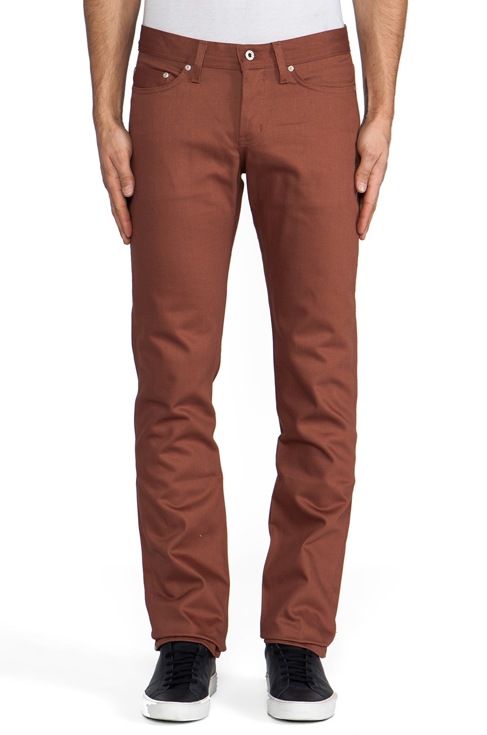 Naked & Famous Denim Weird Guy Rust Selvedge Chino 12 oz. in Rust