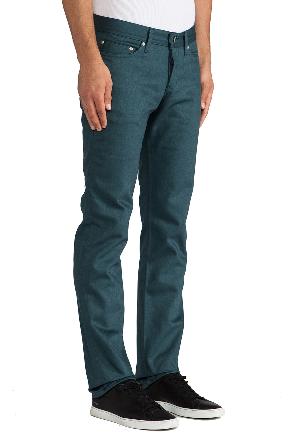 Naked & Famous Denim Weird Guy Petrol Selvedge Chino 12 oz. in Petrol Blue