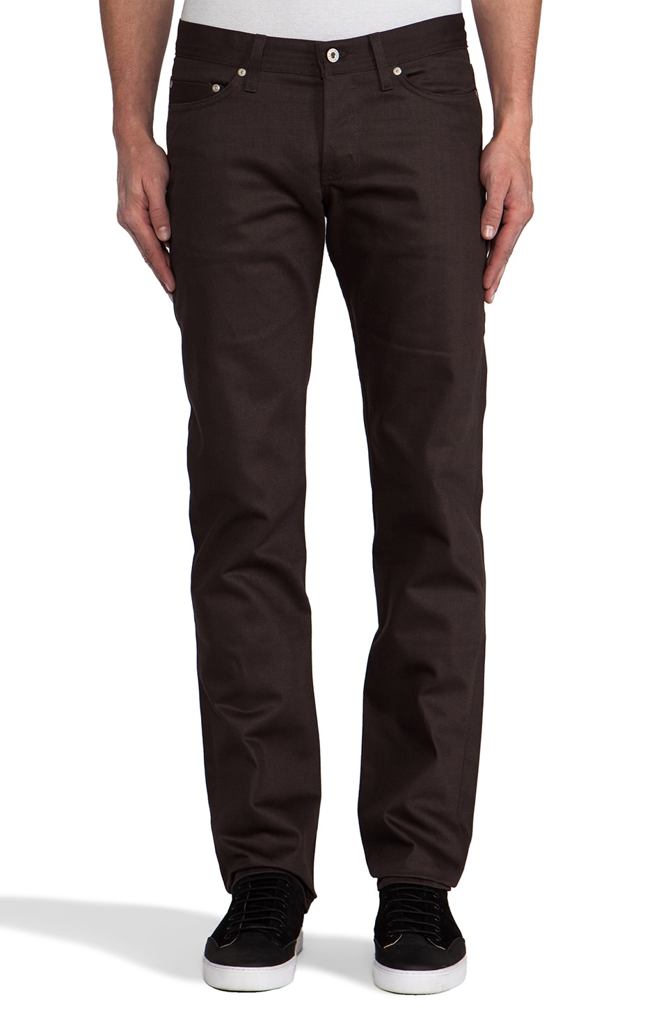 Naked & Famous Denim Weird Guy Brown Selvedge Chino 12 oz. in Brown