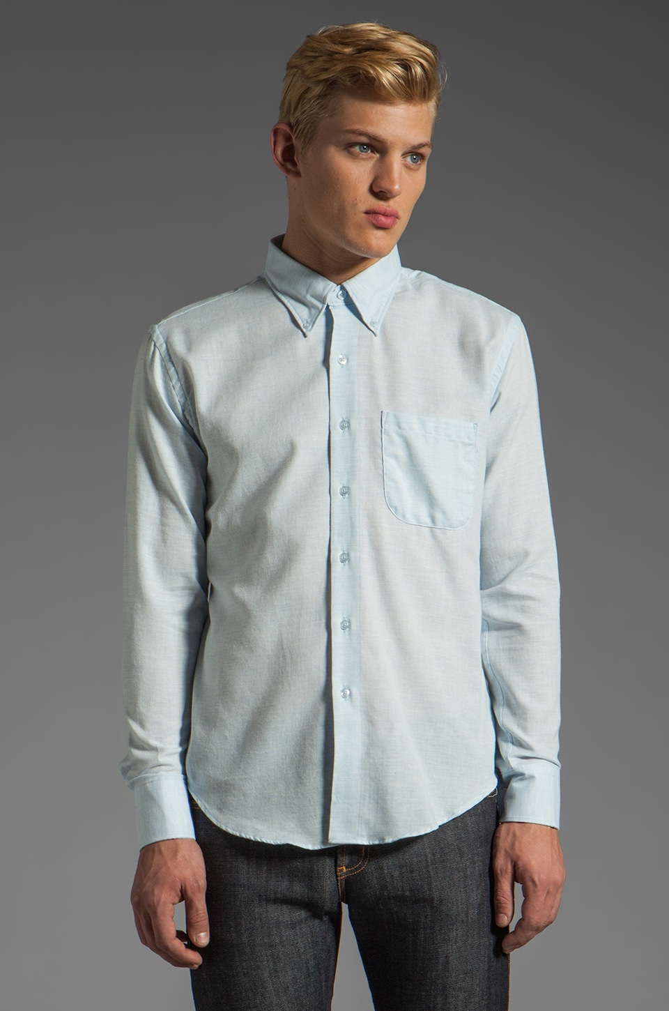 Naked & Famous Denim Slim Shirt 4 oz in Pale Blue Air
