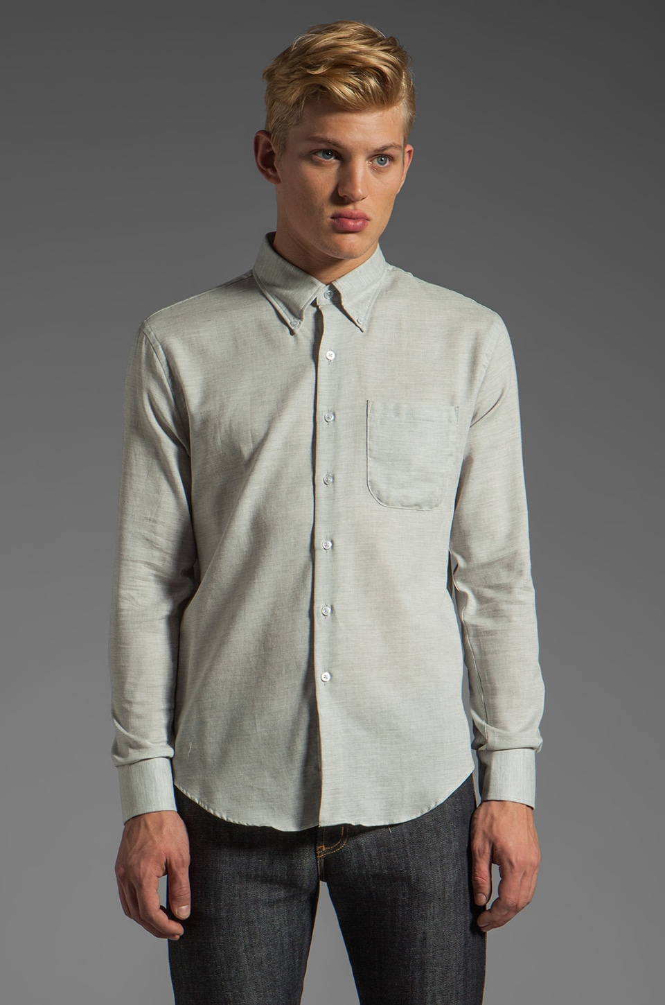 Naked & Famous Denim Slim Shirt 4 oz in Grey Twill Air