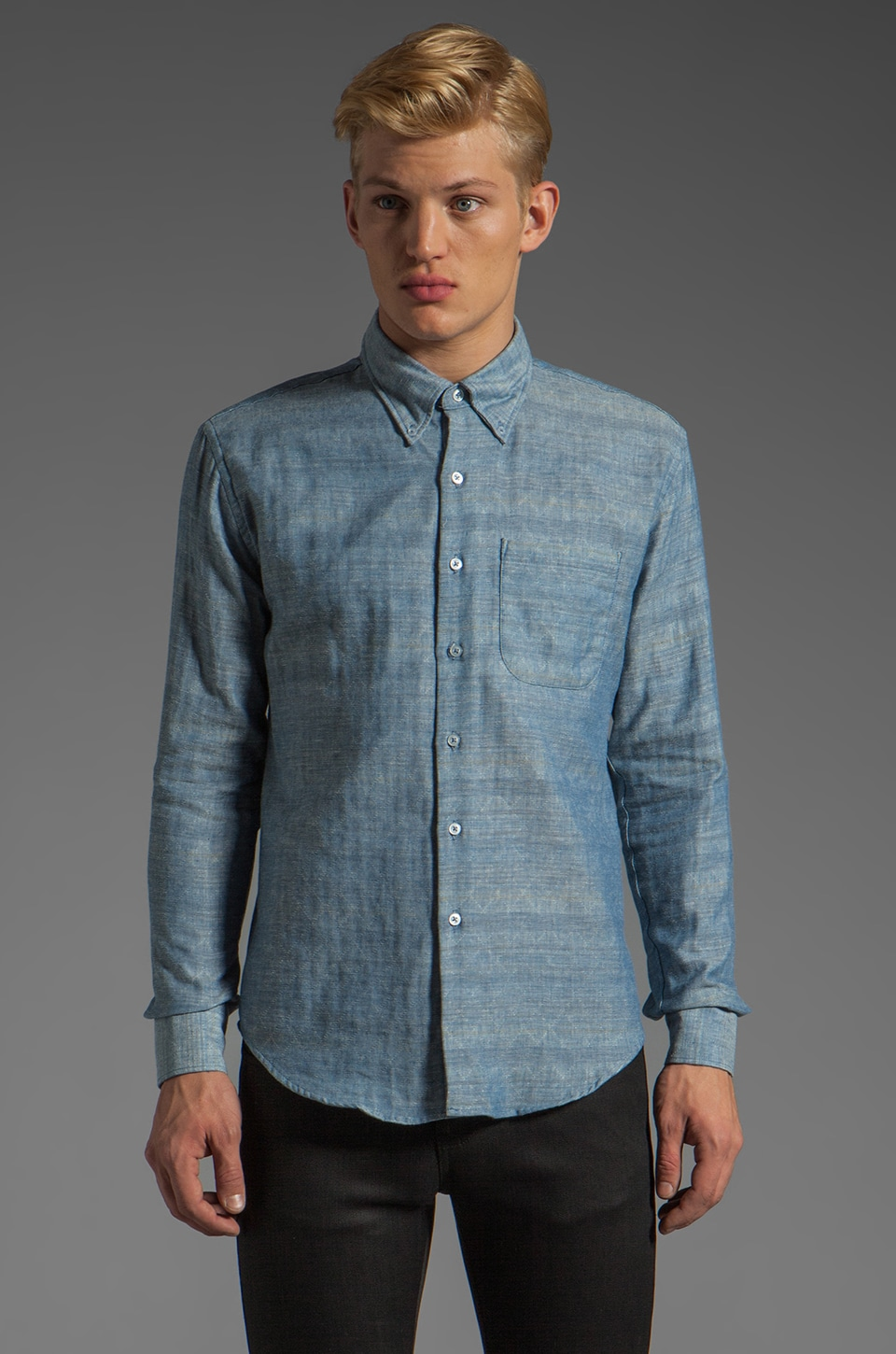 Naked & Famous Denim Slim Shirt 6 oz in Quilted Double Weave Blue