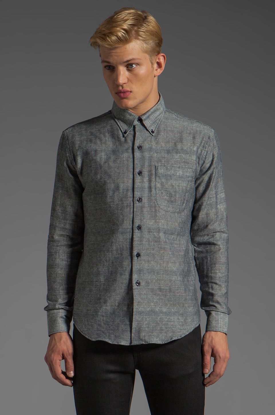 Naked & Famous Denim Slim Shirt 6 oz in Quilted Double Weave Indigo