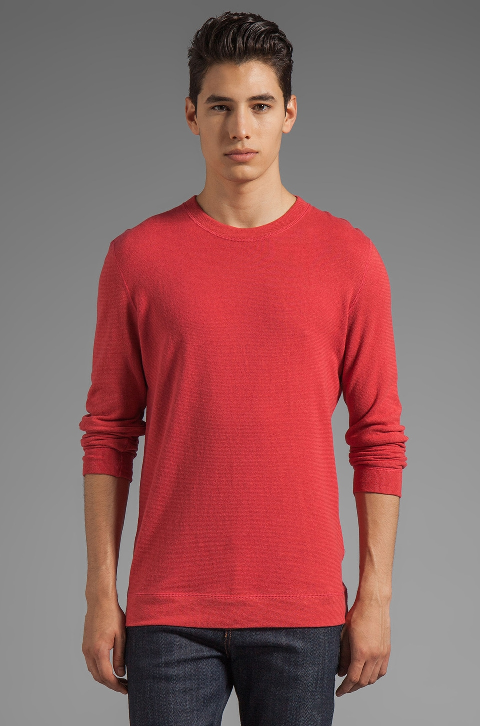 Naked & Famous Denim Slim Crew in Cashmere Blend Red