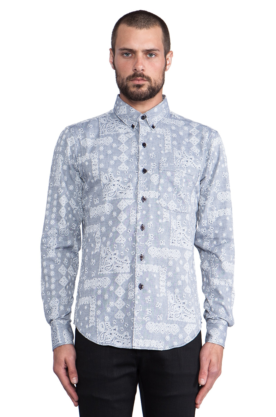 Naked & Famous Denim Slim Shirt Paisley Jacquard in White/Navy