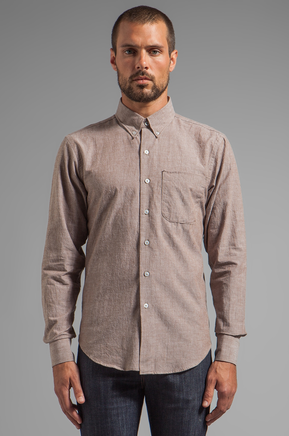 Naked & Famous Denim Regular Shirt Brown Chambray in Pale Brown