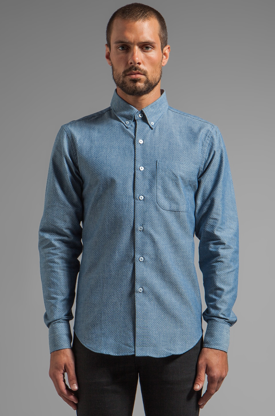 Naked & Famous Denim Regular Shirt Dobby Cloth Dots in Pale Blue