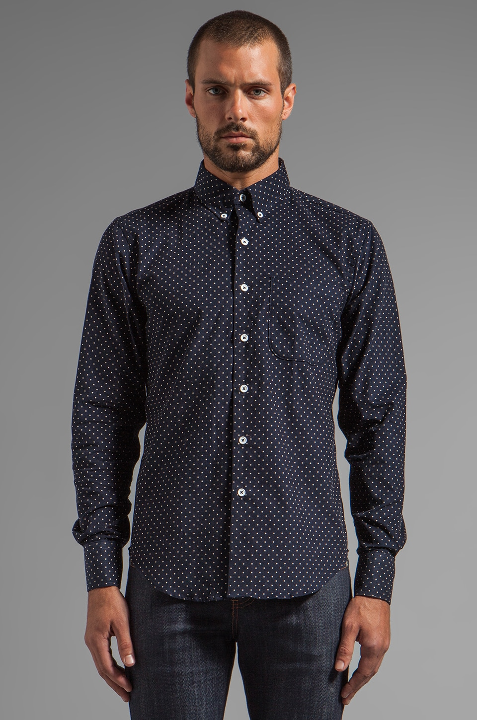 Naked & Famous Denim Regular Shirt Indigo Cord w/ White Dots in Indigo