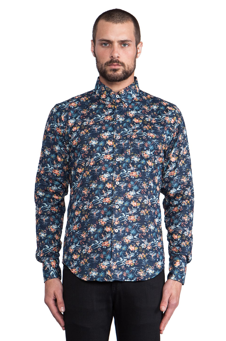 Naked & Famous Denim Regular Shirt Tropical Gauze in Multi