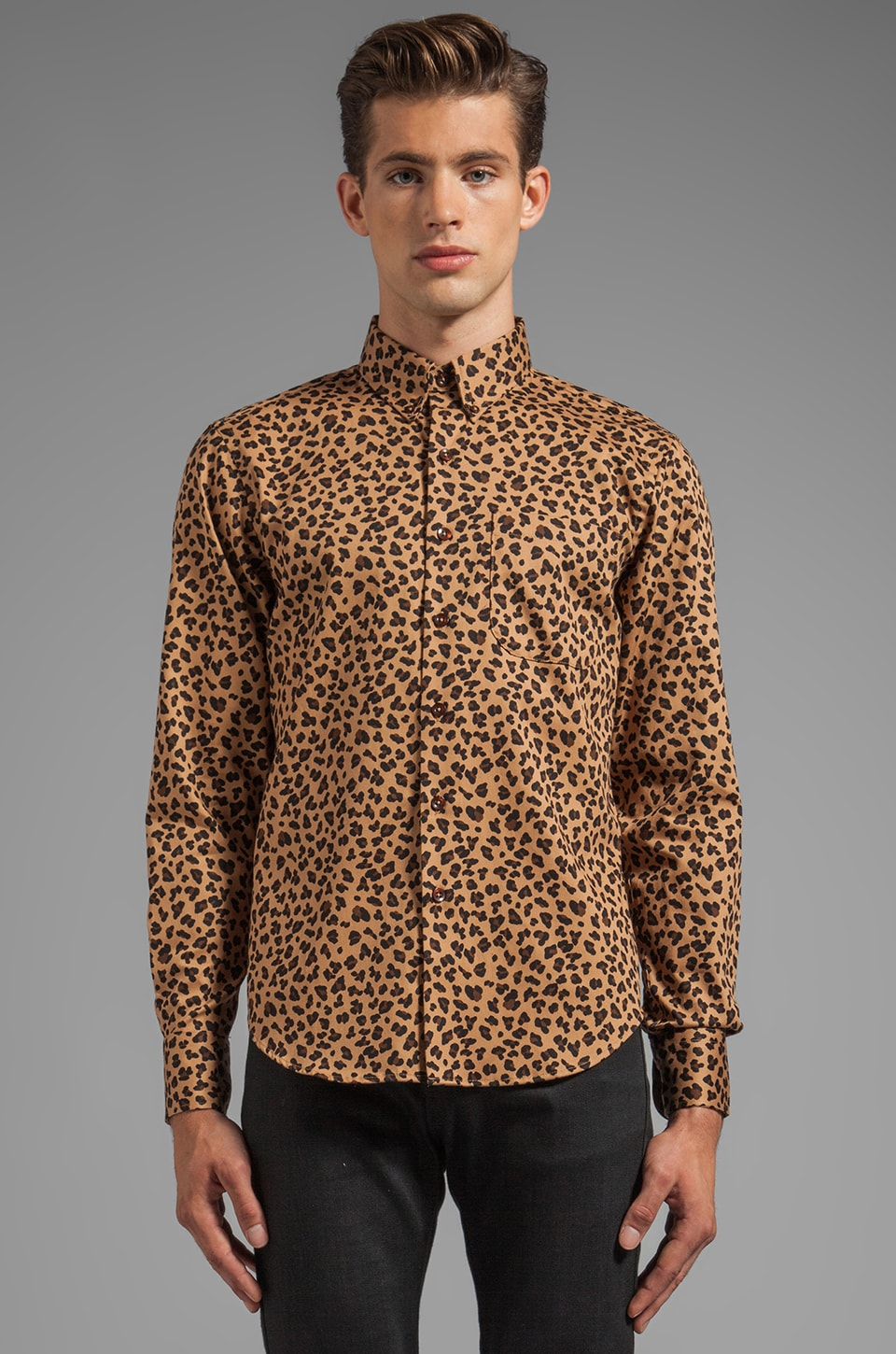 Naked & Famous Denim Regular Shirt Leopard Print in Tan