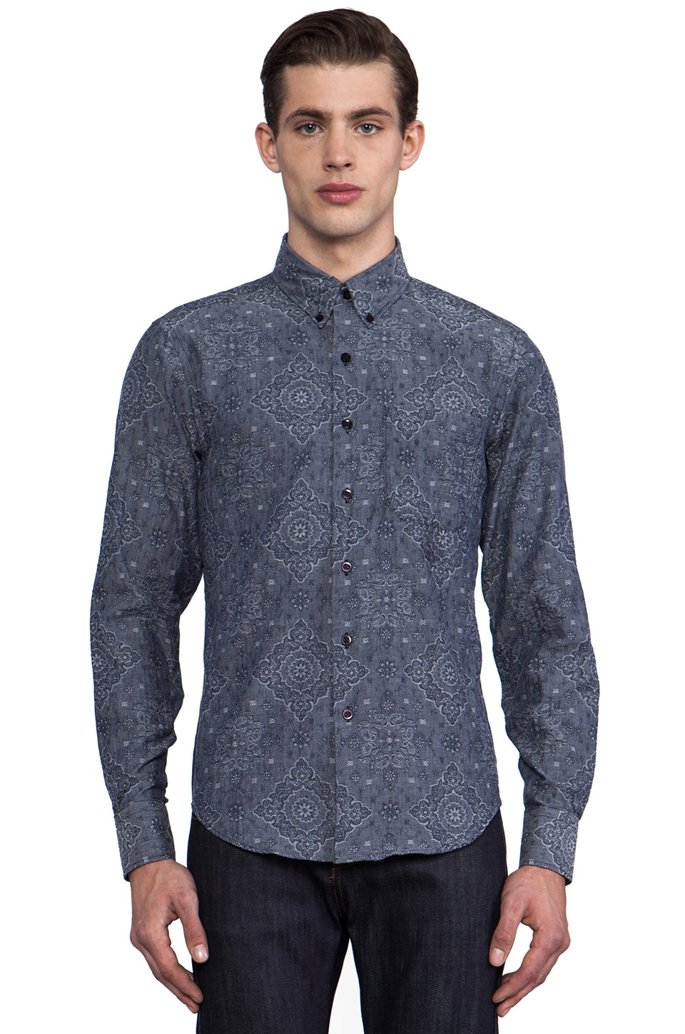 Naked & Famous Denim Regular Shirt Paisley Jacquard in Indigo