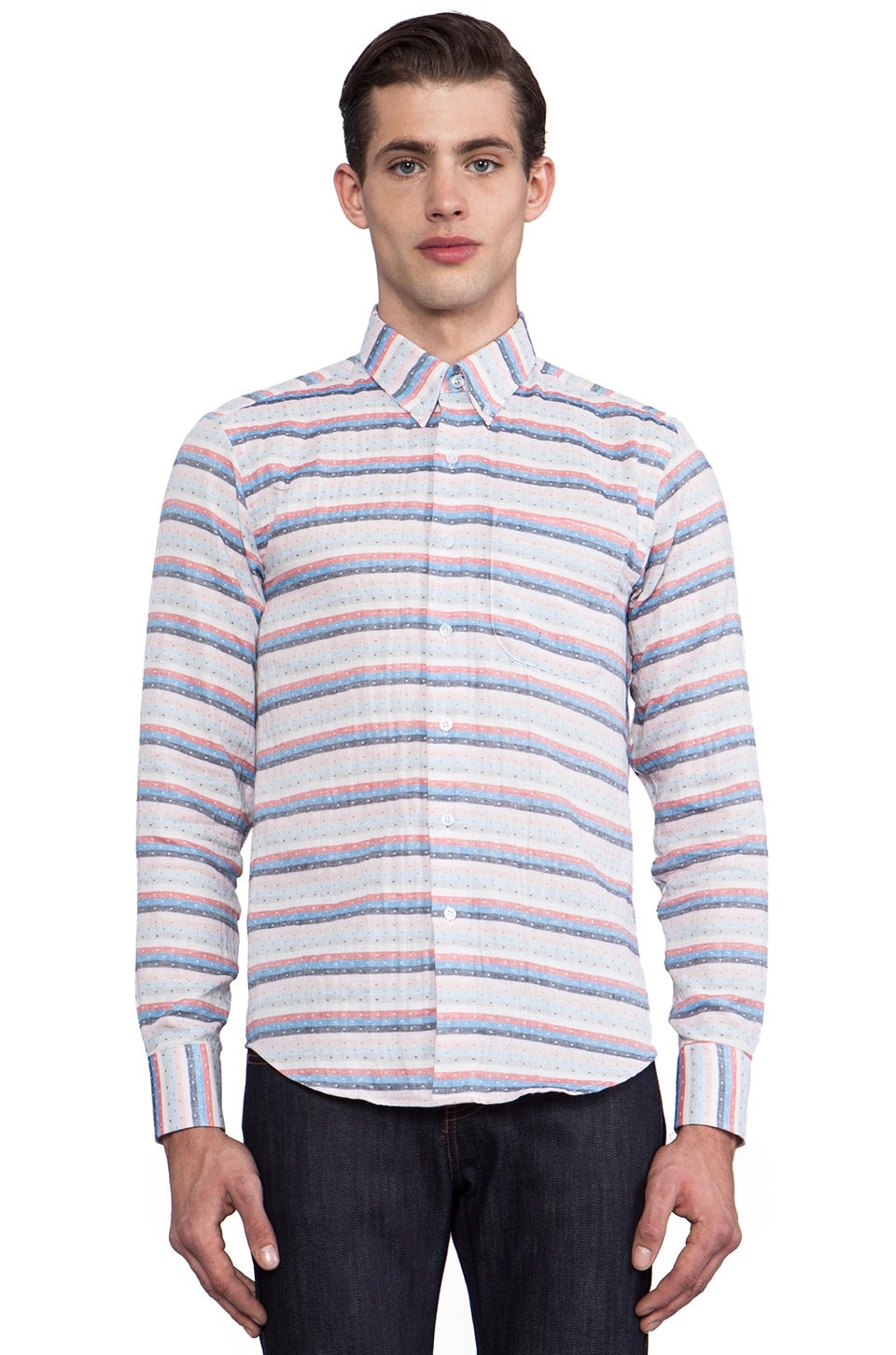 Naked & Famous Denim Regular Shirt Gauze Stripes + Dots in Red & White & Blue