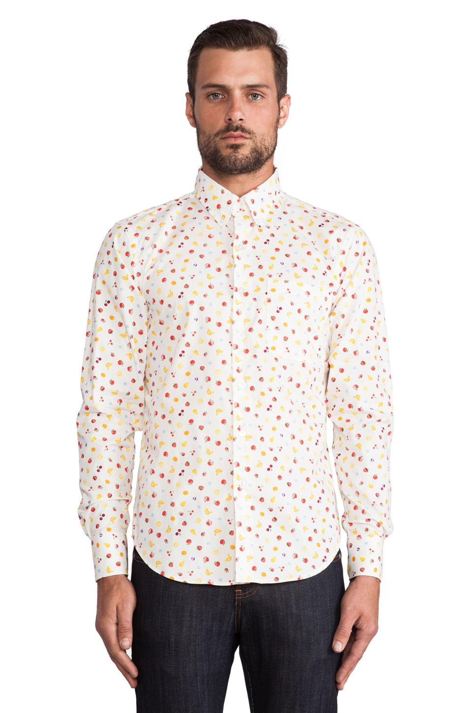 Naked & Famous Denim Fruit Regular Shirt in White