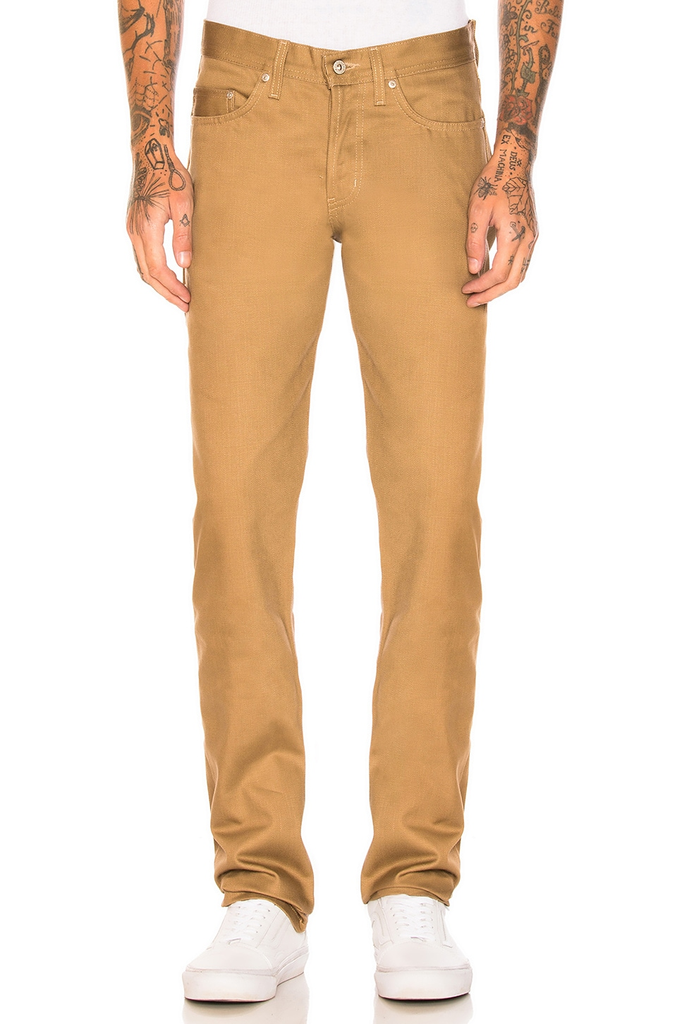 Naked & Famous Denim Weird Guy Selvedge Chino in Tan