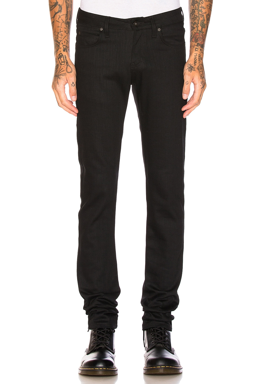 Naked & Famous Denim Super Skinny Guy Black Power Stretch in Black