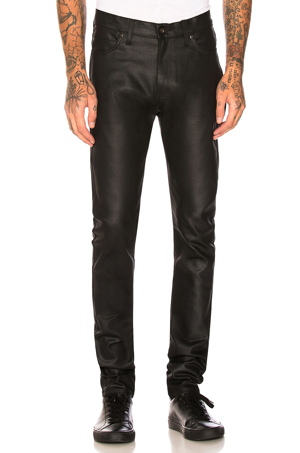 Naked & Famous Denim Stacked Guy 12oz Black Waxed Stretch in Black