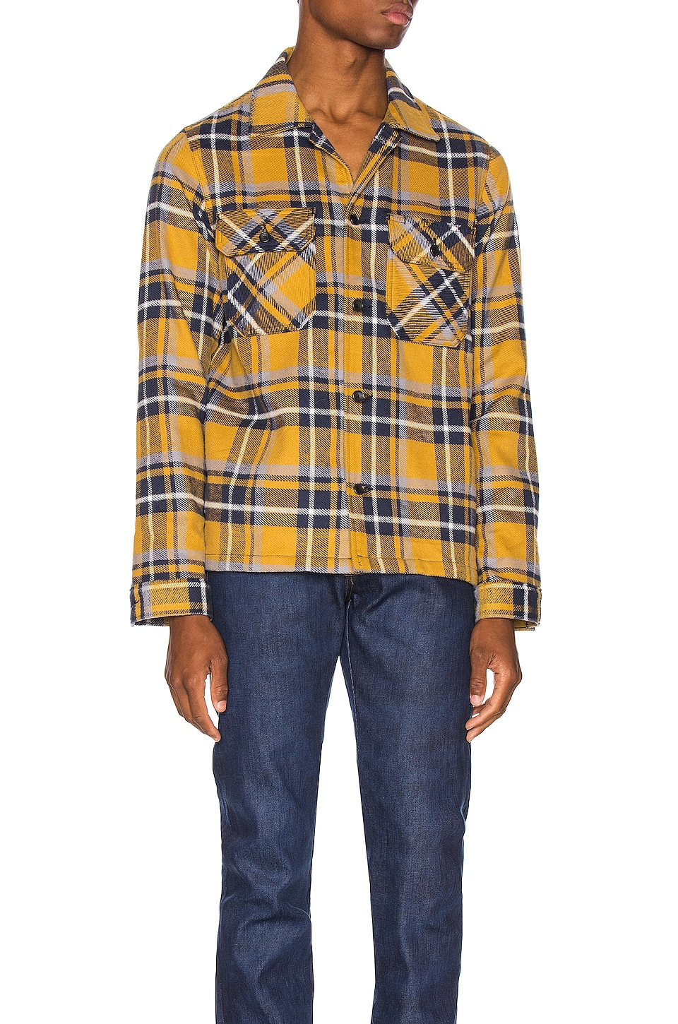 Naked & Famous Denim Work Shirt in Yellow & Blue Flannel