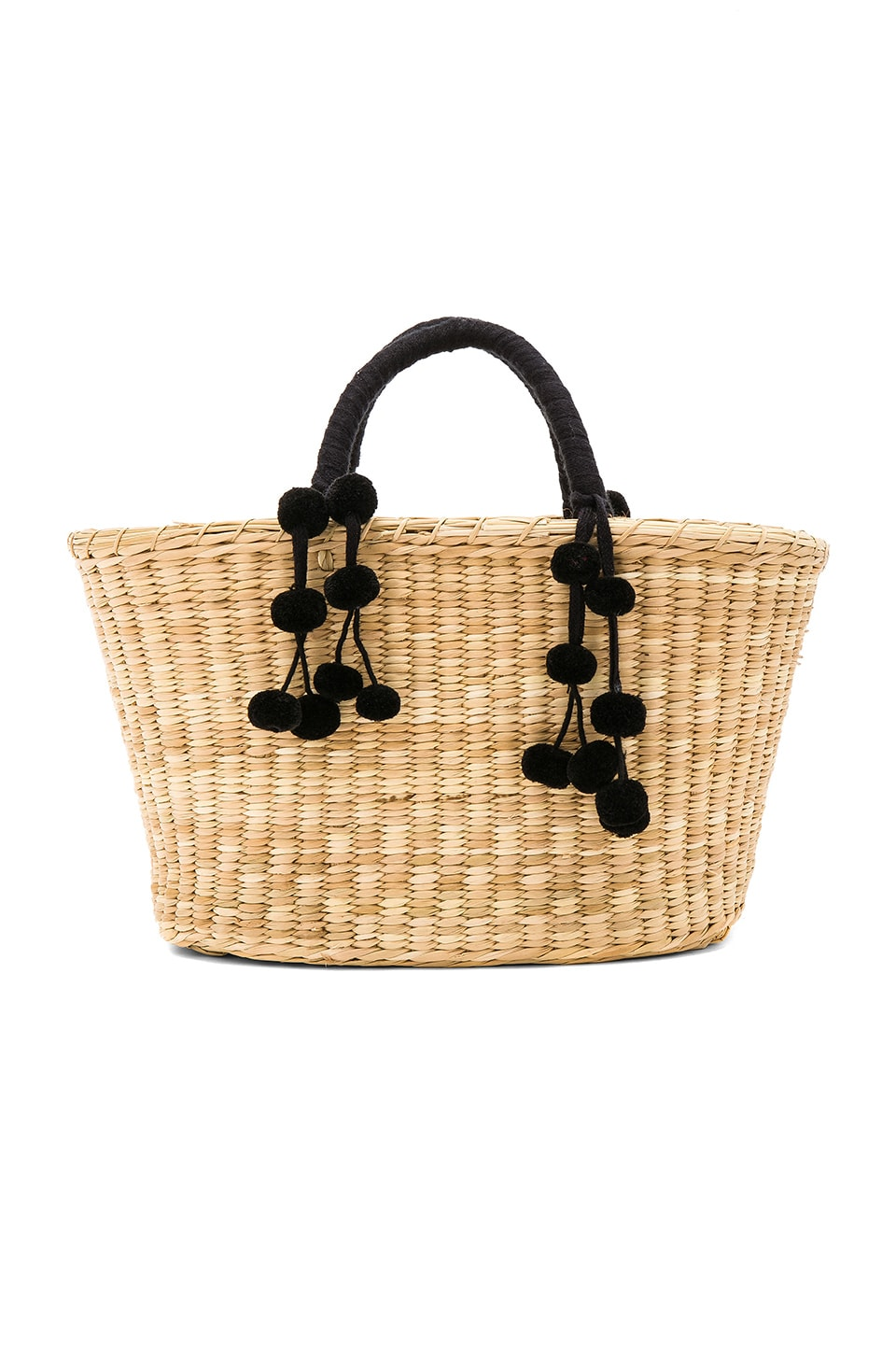 Nannacay Mari Tote Black Pompom Tote in Off White