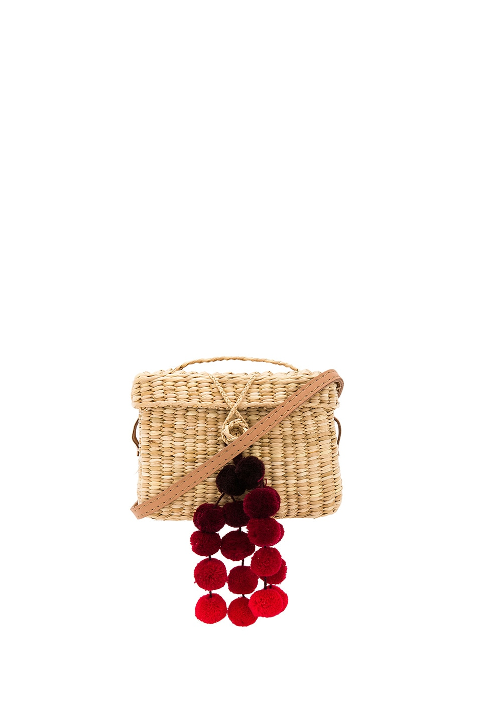 Nannacay Baby Roge Cascade Red Pompom Bag in Off White