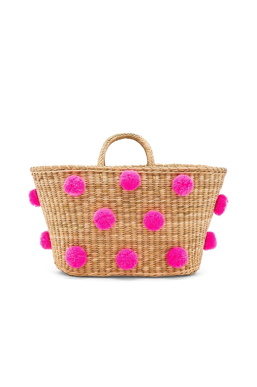 Nannacay Joana Tote in Natural & Pink Pom Poms
