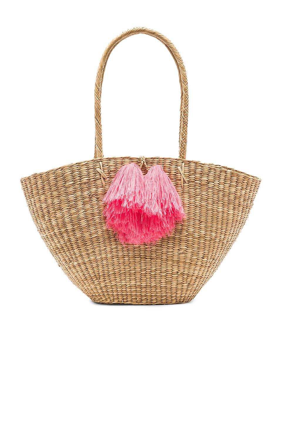 Nannacay Seychelles Large Penachos Tote in Off White & Coral