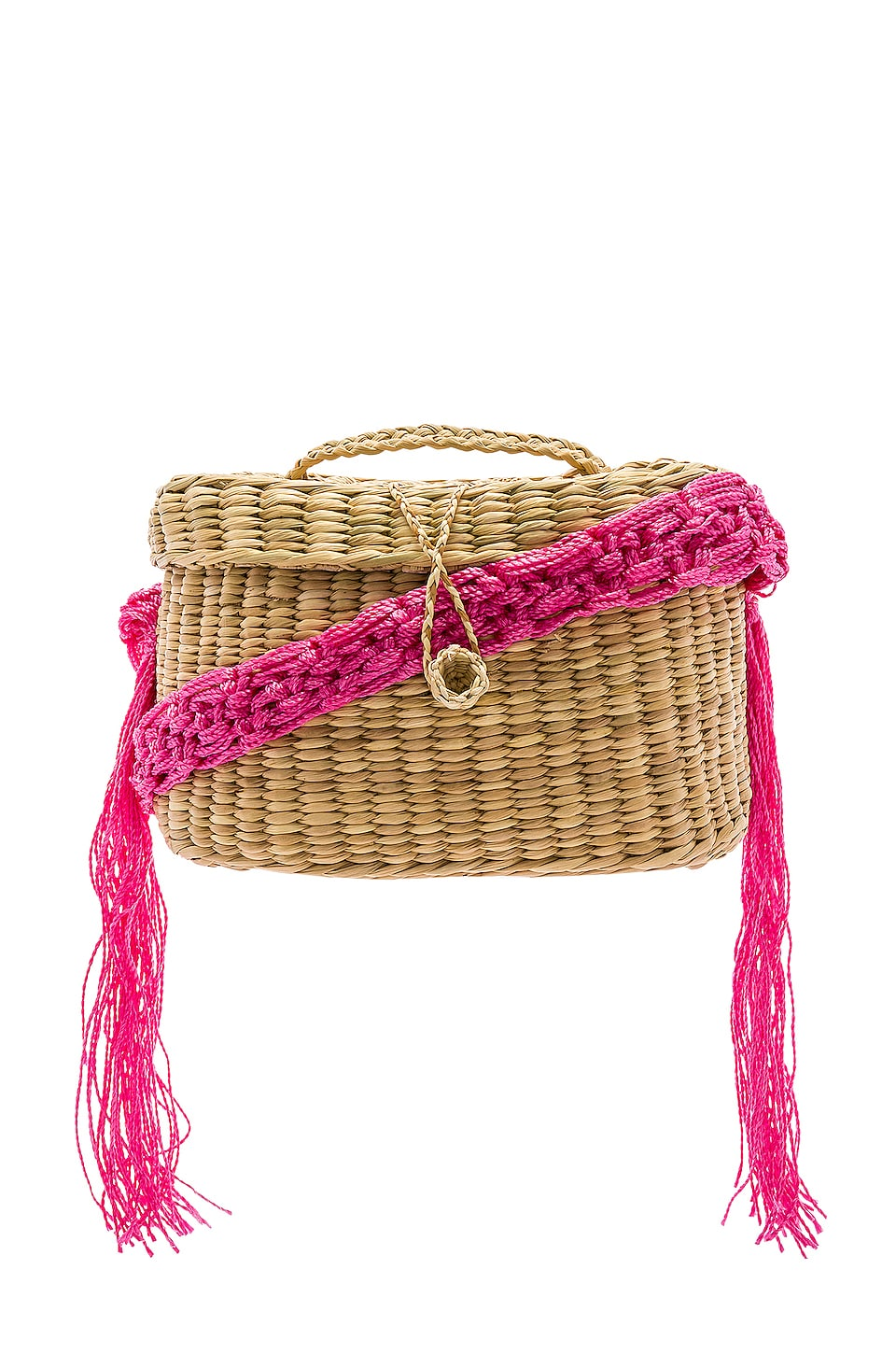 Nannacay Kiki Small Macrame Strap Bag in Off White & Pink