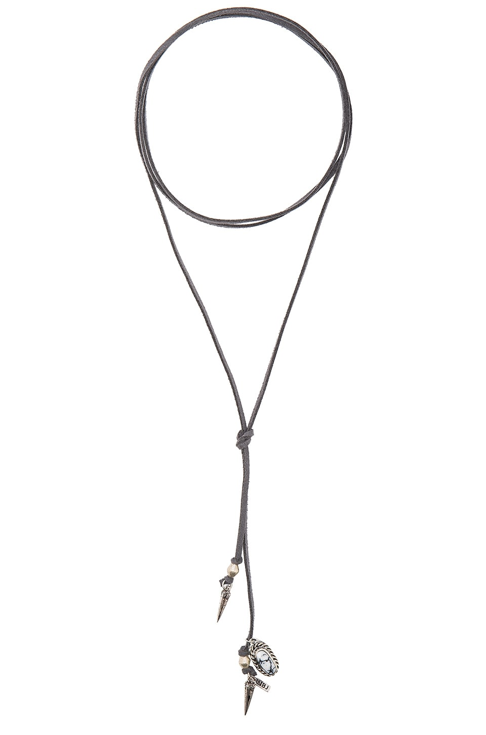 Natalie B Jewelry Roadie Wrap Necklace in Grey & Silver Hardware with White Marble