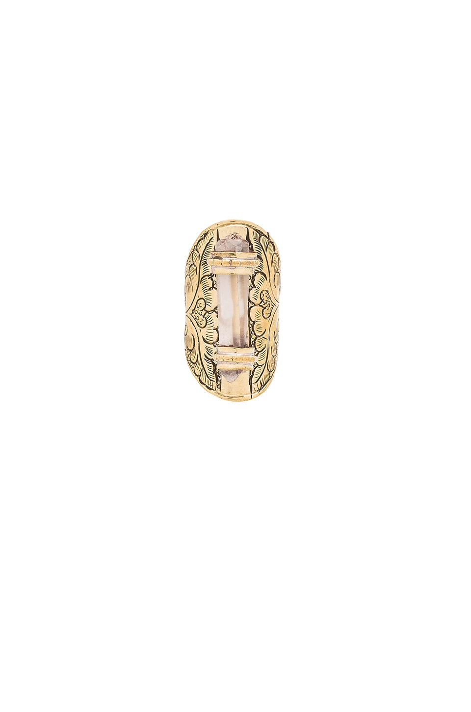 Natalie B Jewelry Crystal Ring in Brass & Clear Crystal