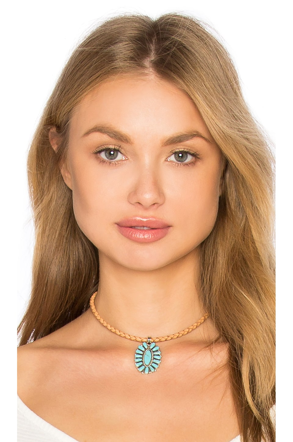 Natalie B Jewelry Sun Goddess Choker in Silver & Turquoise