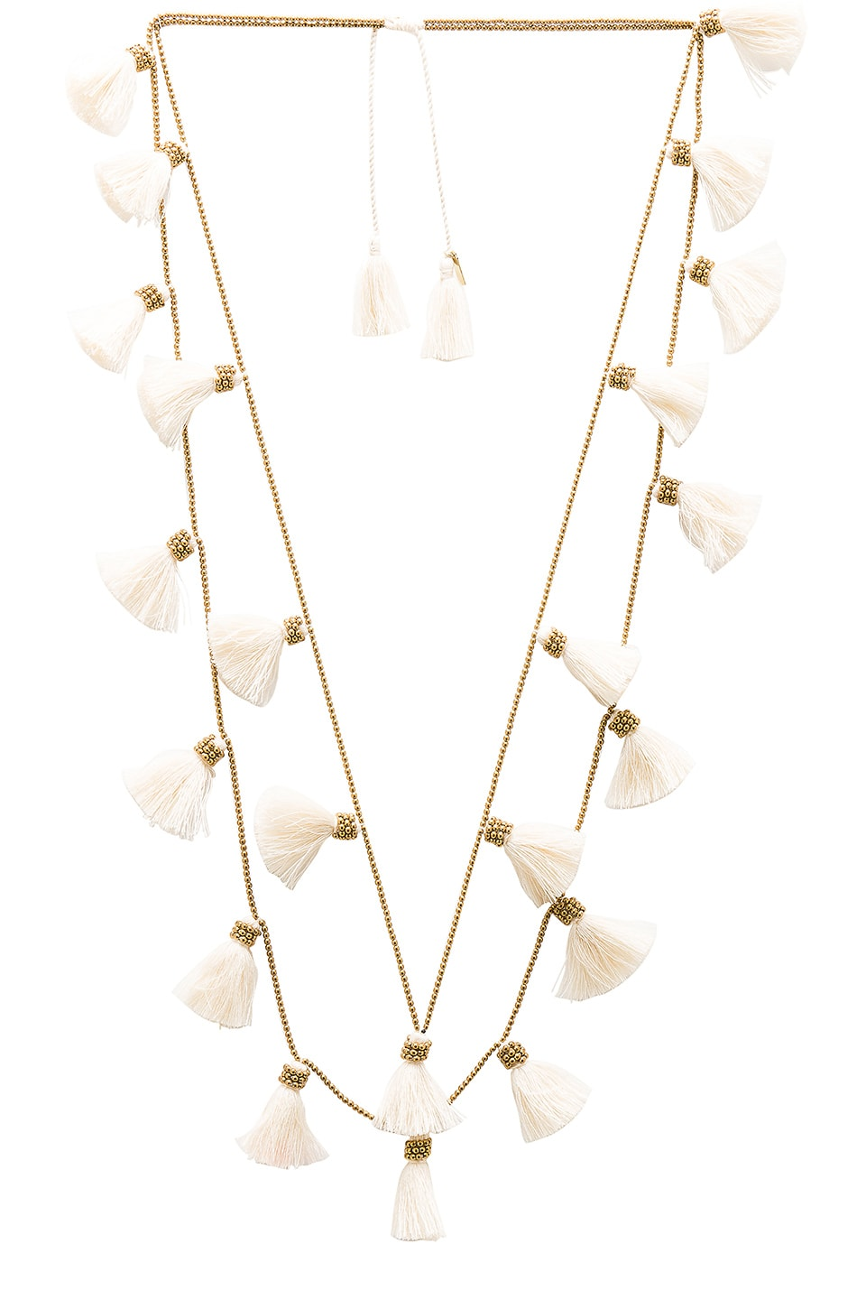 Natalie B Jewelry Dara Tassel Necklace in Gold & Ivory