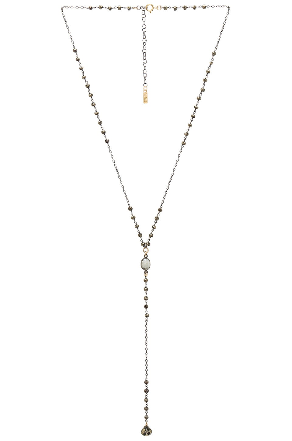 Natalie B Jewelry Stevie Lariat in Pyrite & Silver