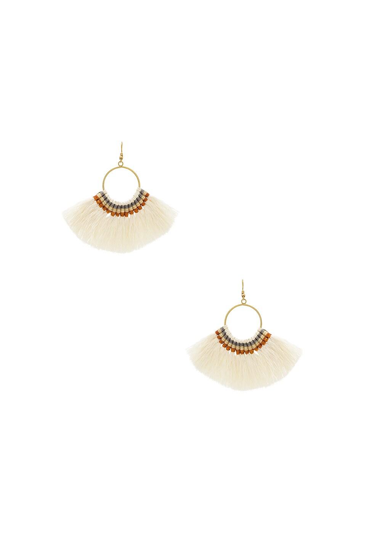 Natalie B Jewelry Fringe Tassel Earrings in Ivory
