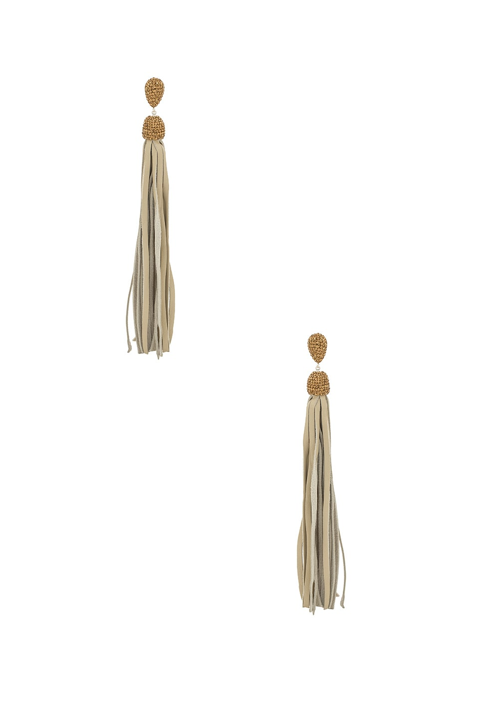Natalie B Jewelry Fascino Leather Tassel Earrings in Grey