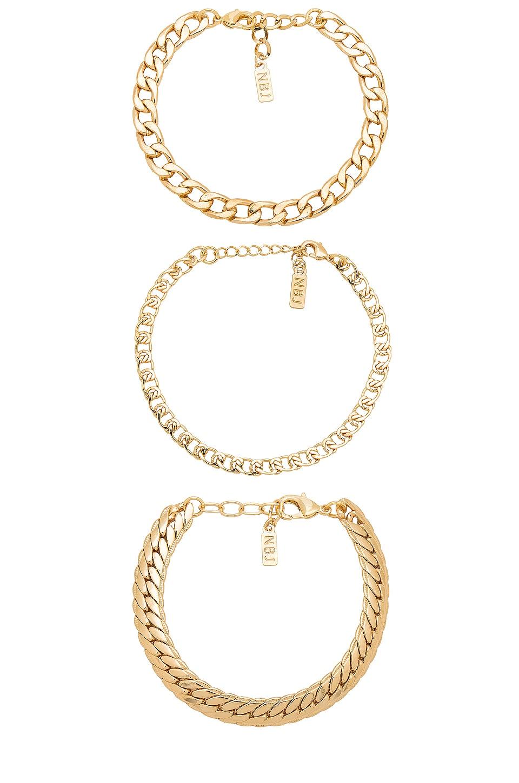 Natalie B Jewelry Tre Catena Bracelet in Gold