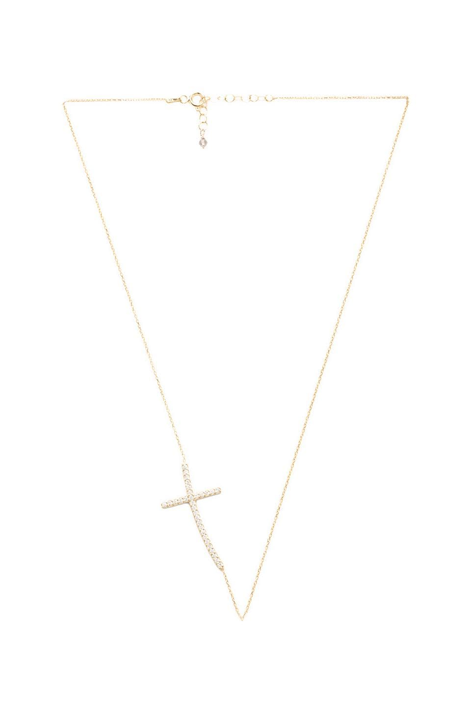 Natalie B Jewelry Ottoman Sideways Cross Necklace in Gold