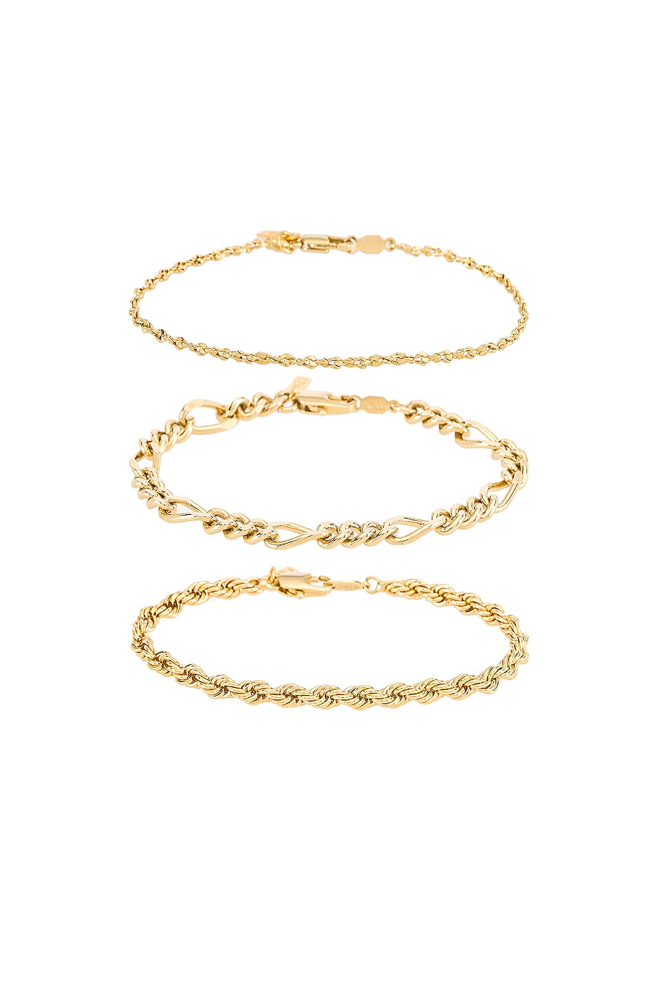 Natalie B Jewelry Triple Crown Bracelet Set in Gold