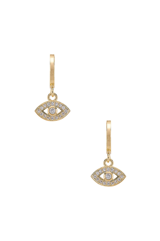 Natalie B Jewelry Evil Eye Mini Hoop in Gold